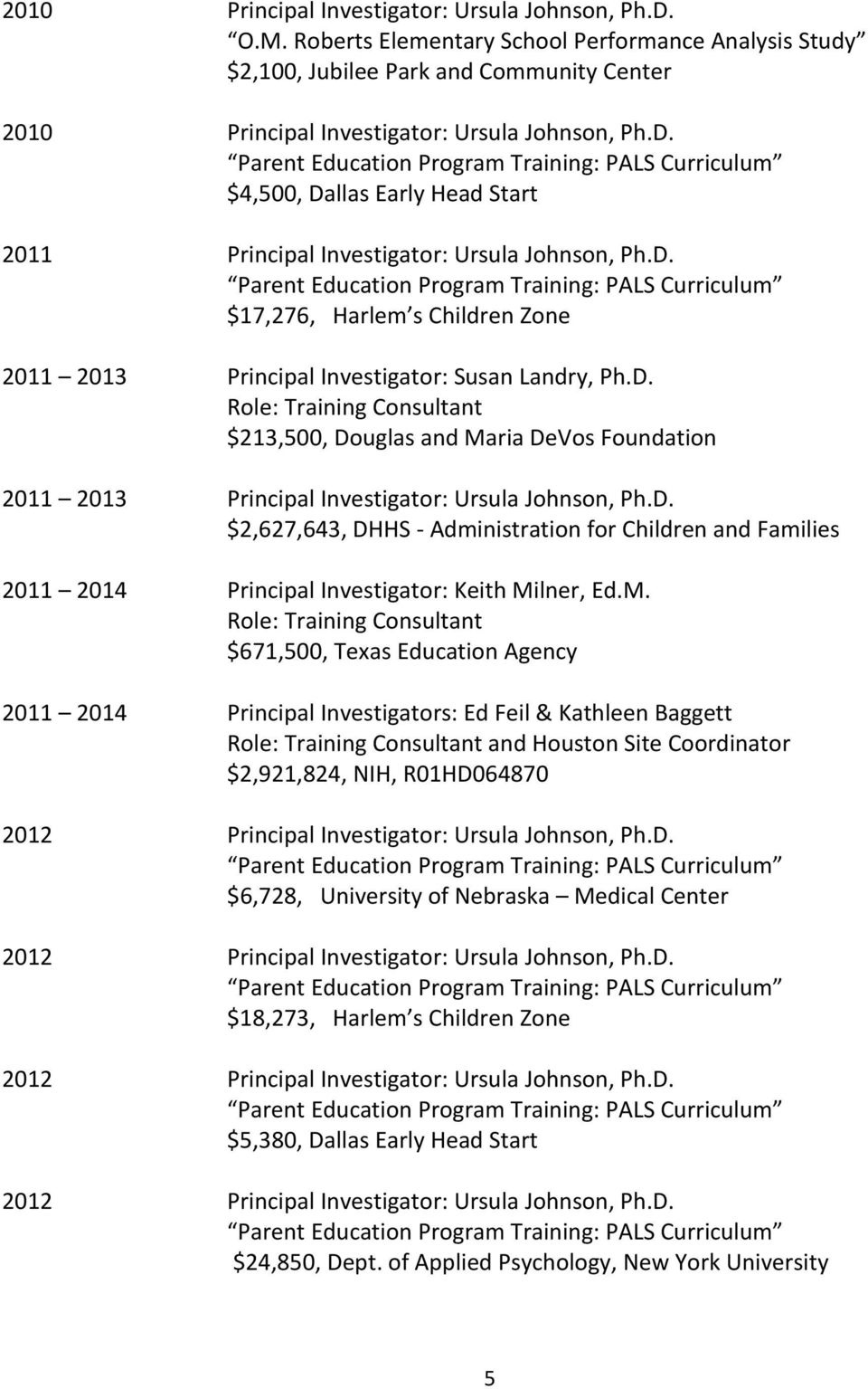 D. $2,627,643, DHHS - Administration for Children and Families 2011 2014 Principal Investigator: Keith Mi