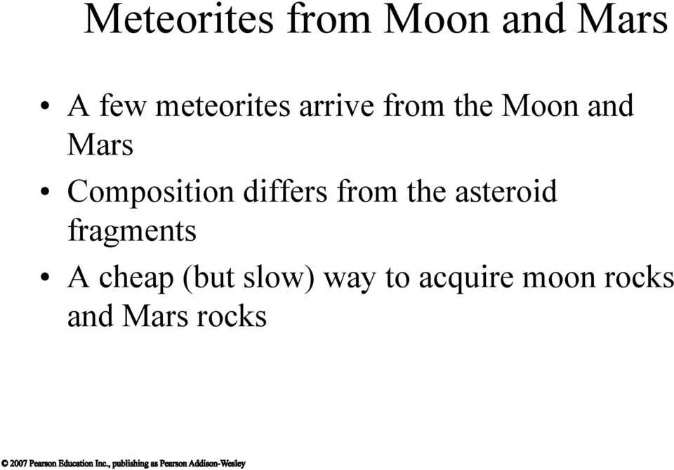 Composition differs from the asteroid