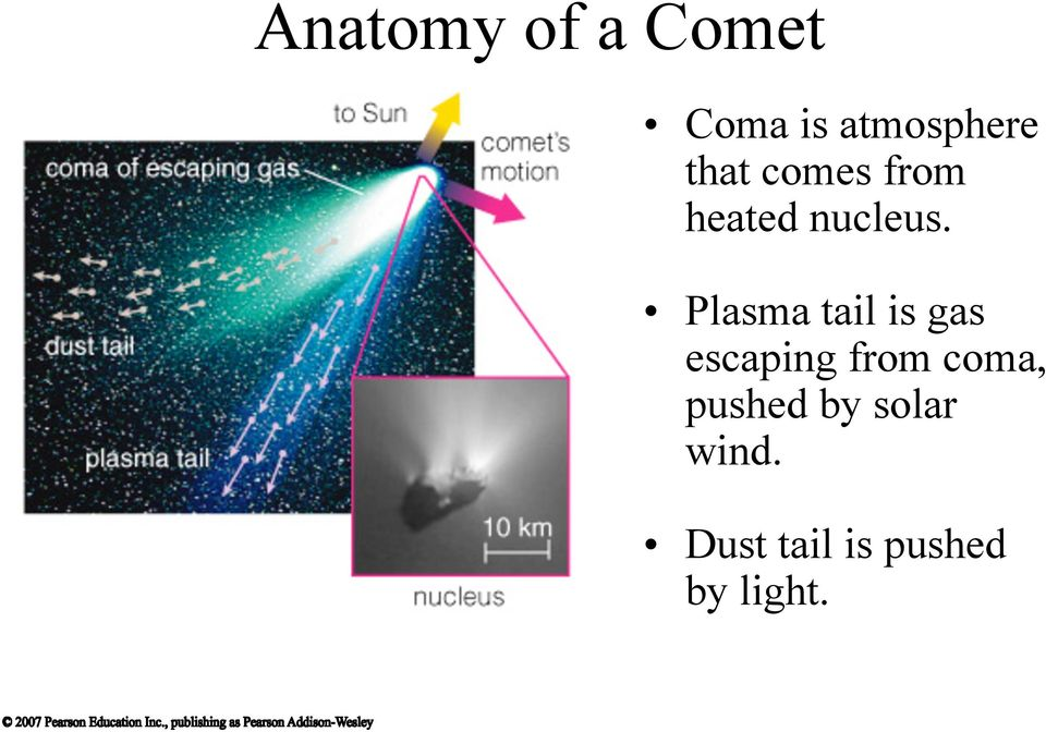 Plasma tail is gas escaping from coma,
