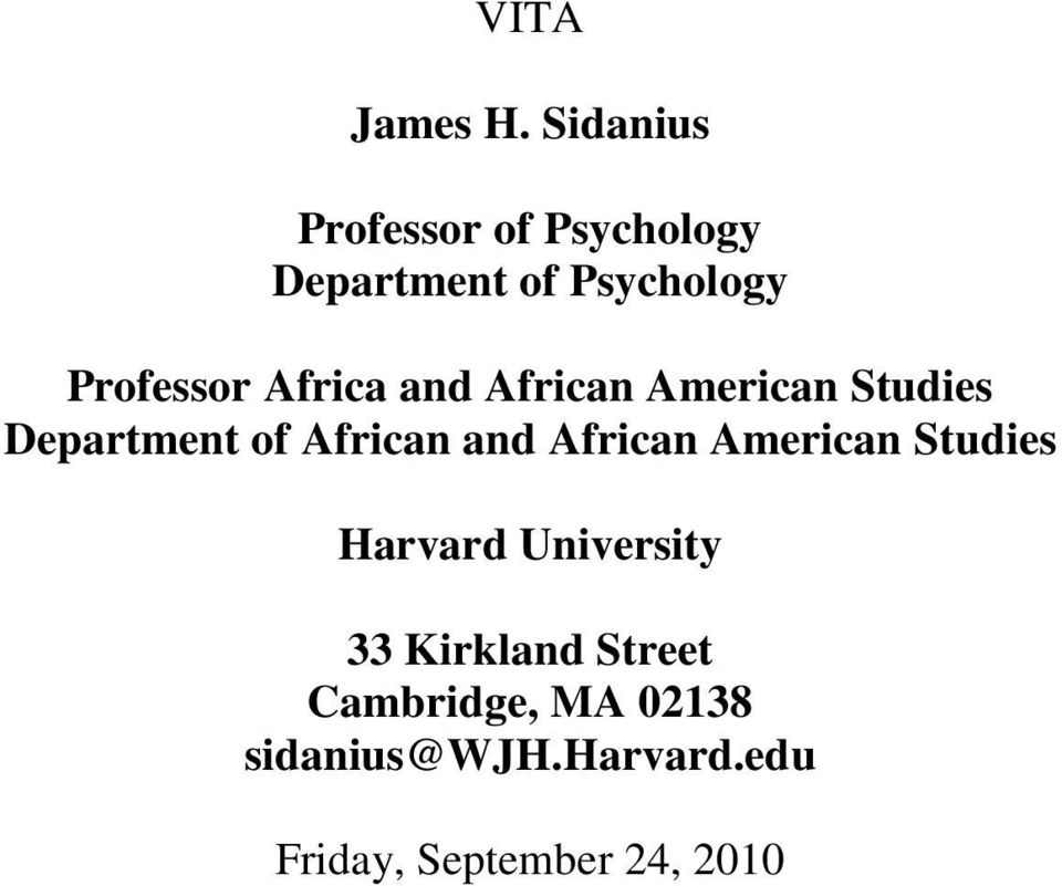 Africa and African American Studies Department of African and African