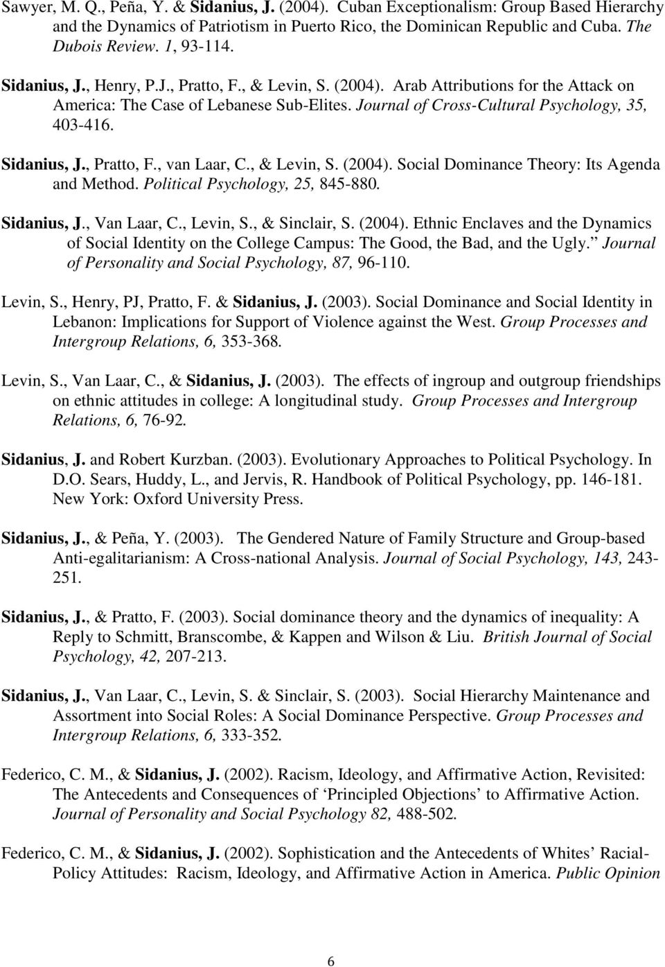 , Pratto, F., van Laar, C., & Levin, S. (2004). Social Dominance Theory: Its Agenda and Method. Political Psychology, 25, 845-880. Sidanius, J., Van Laar, C., Levin, S., & Sinclair, S. (2004). Ethnic Enclaves and the Dynamics of Social Identity on the College Campus: The Good, the Bad, and the Ugly.