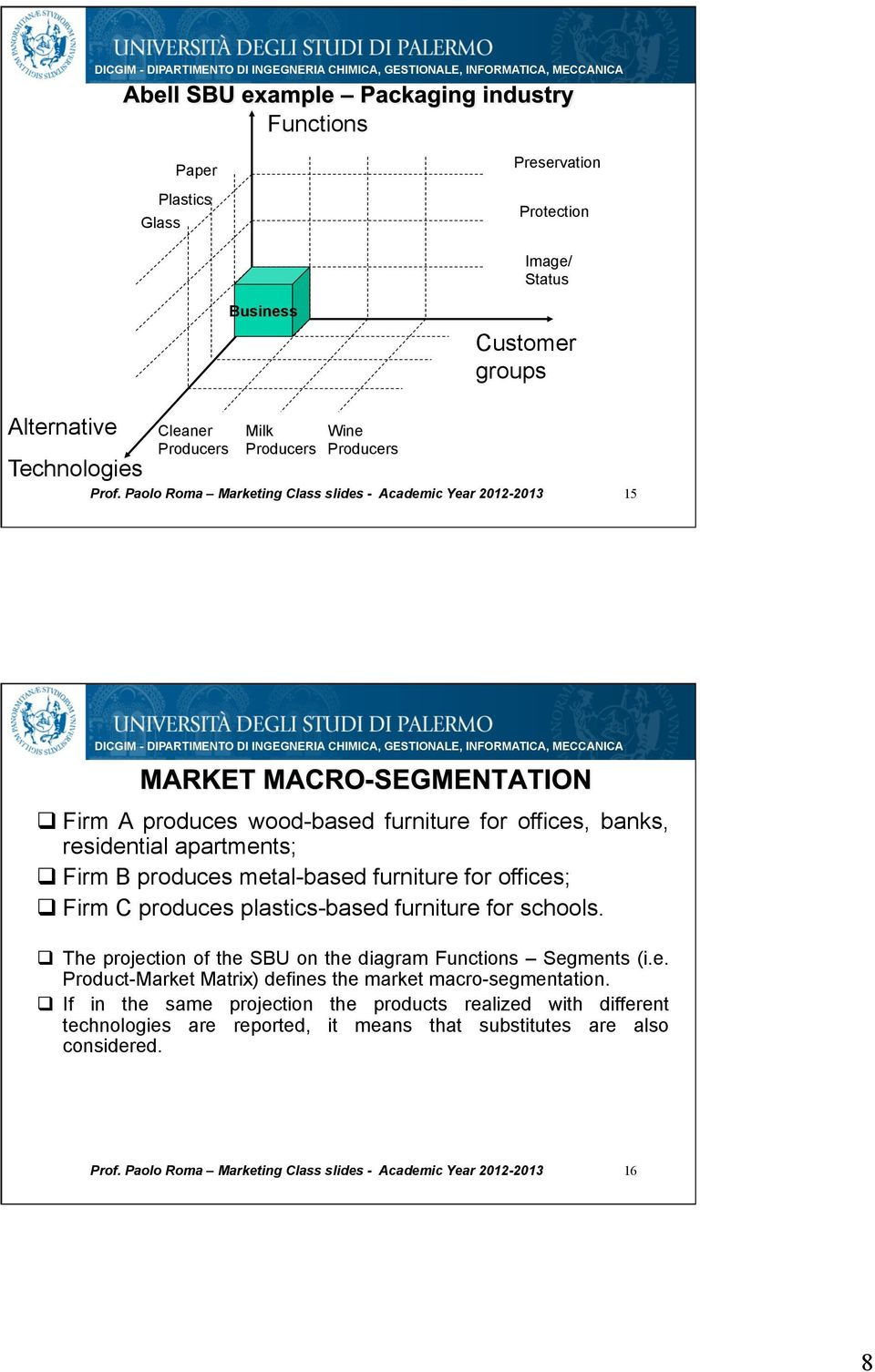 produces plastics-based furniture for schools. The projection of the SBU on the diagram Functions Segments (i.e. Product-Market Matrix) defines the market macro-segmentation.