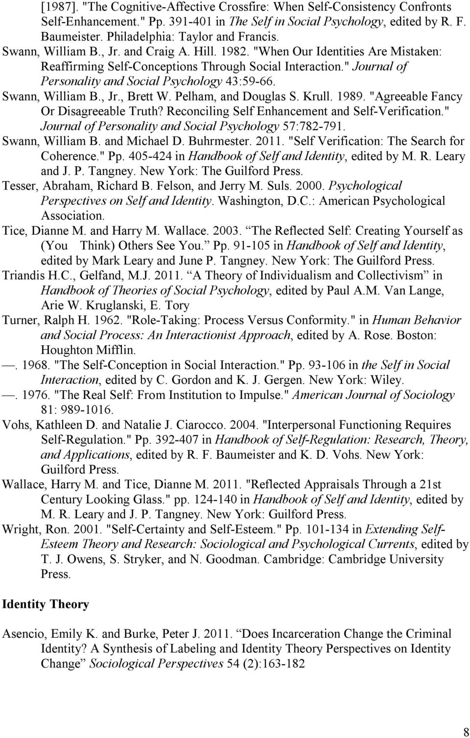 """ Journal of Personality and Social Psychology 43:59-66. Swann, William B., Jr., Brett W. Pelham, and Douglas S. Krull. 1989. ""Agreeable Fancy Or Disagreeable Truth?"