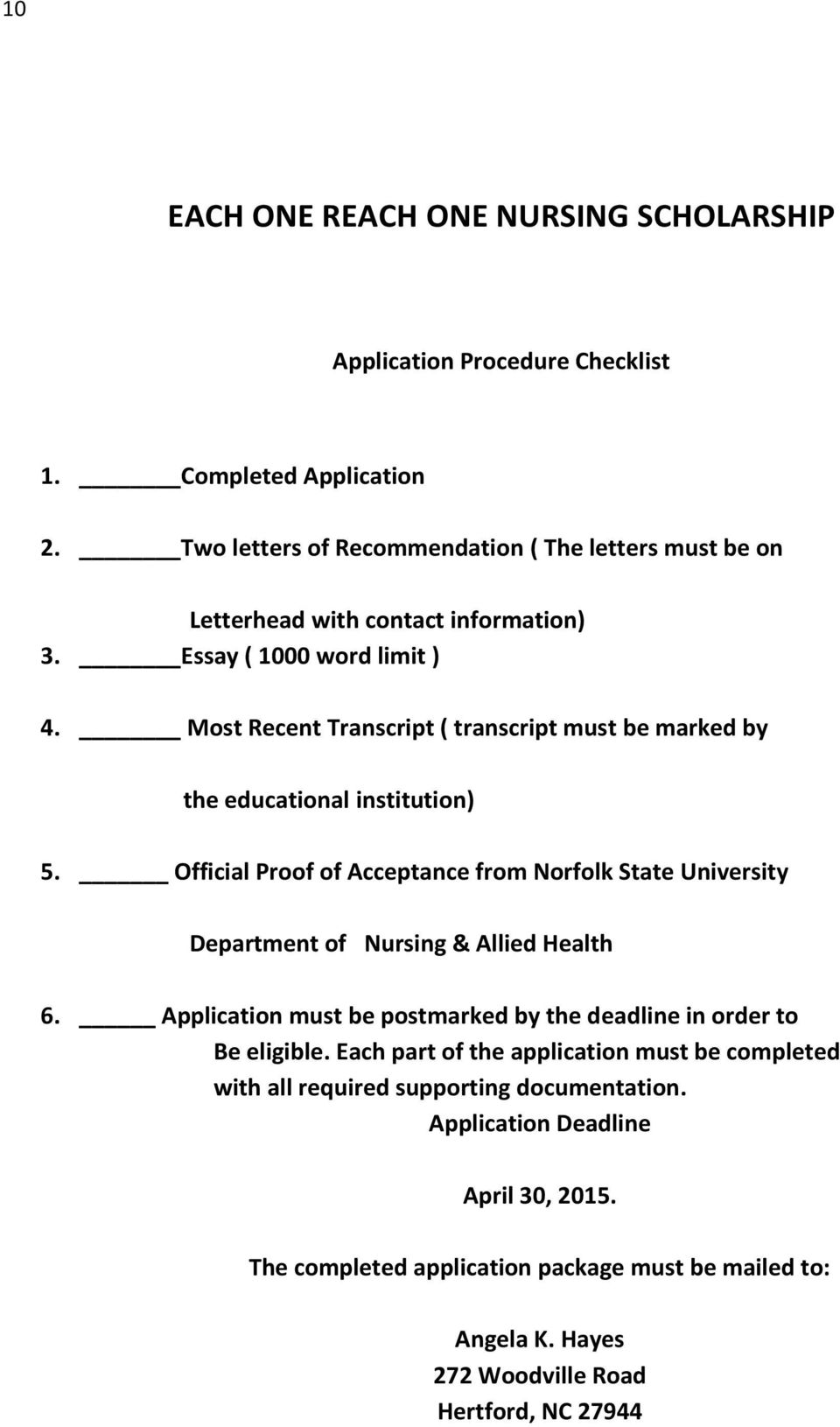 Official Proof of Acceptance from Norfolk State University Department of Nursing & Allied Health 6.