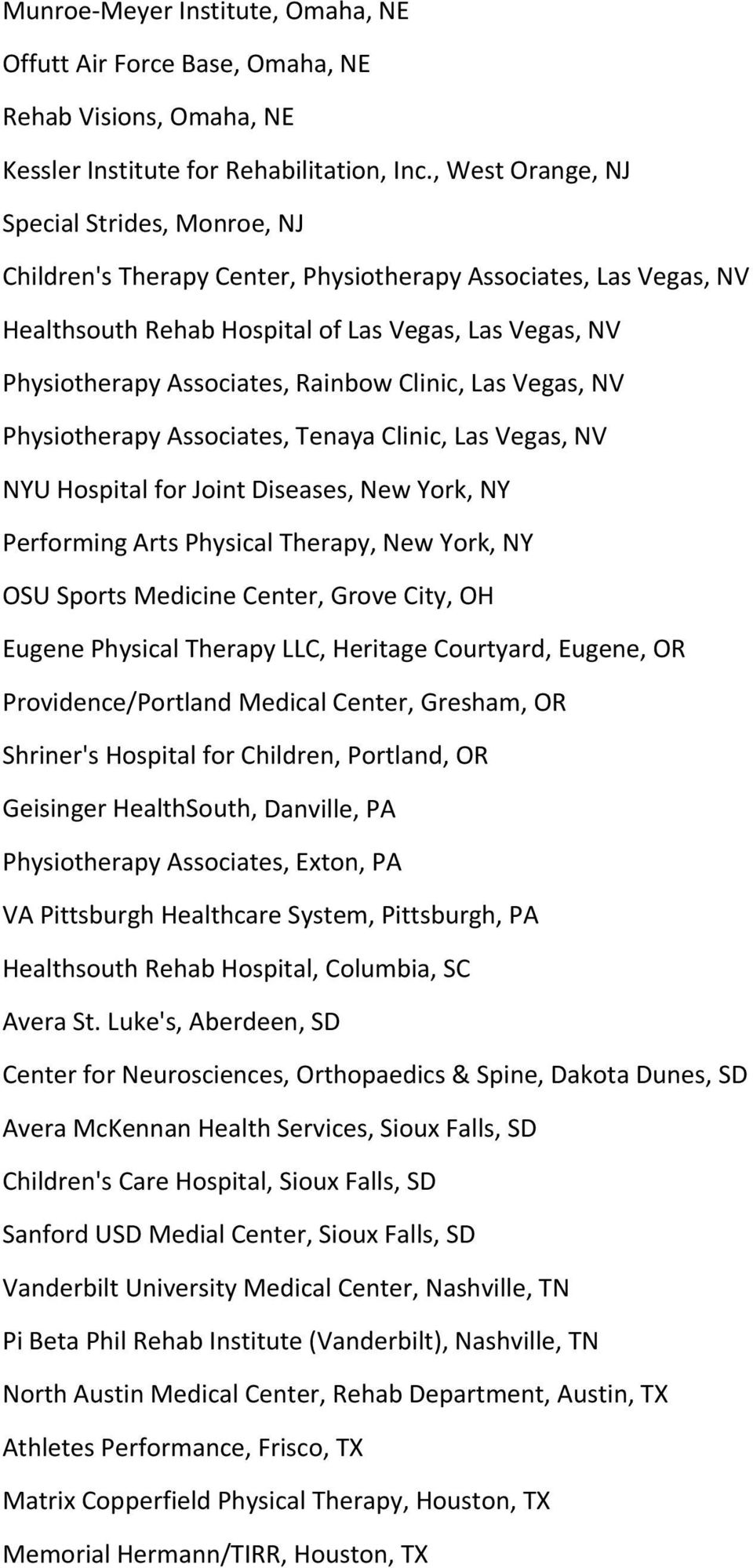 Rainbow Clinic, Las Vegas, NV Physiotherapy Associates, Tenaya Clinic, Las Vegas, NV NYU Hospital for Joint Diseases, New York, NY Performing Arts Physical Therapy, New York, NY OSU Sports Medicine