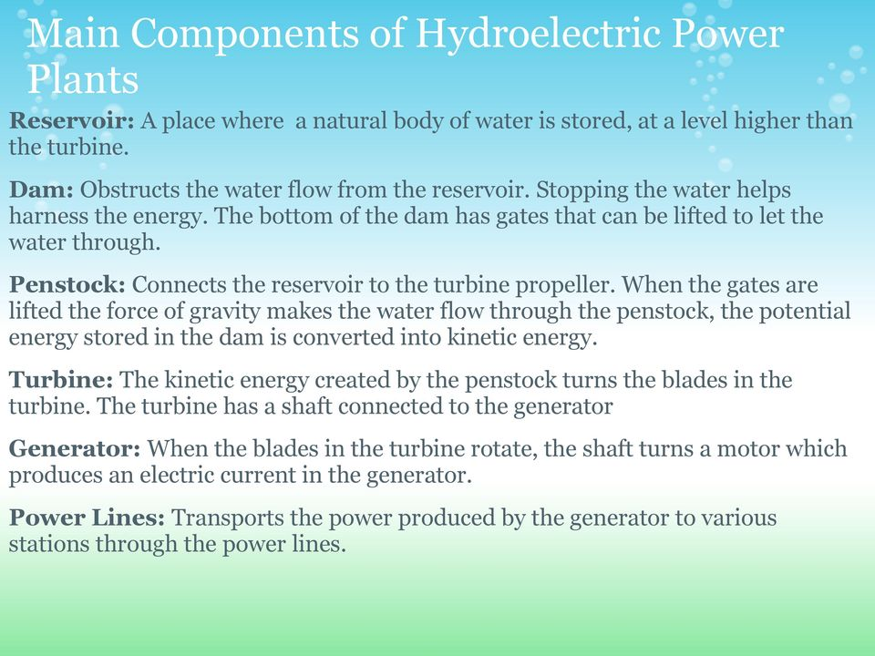 components of hydroelectric power plant pdf