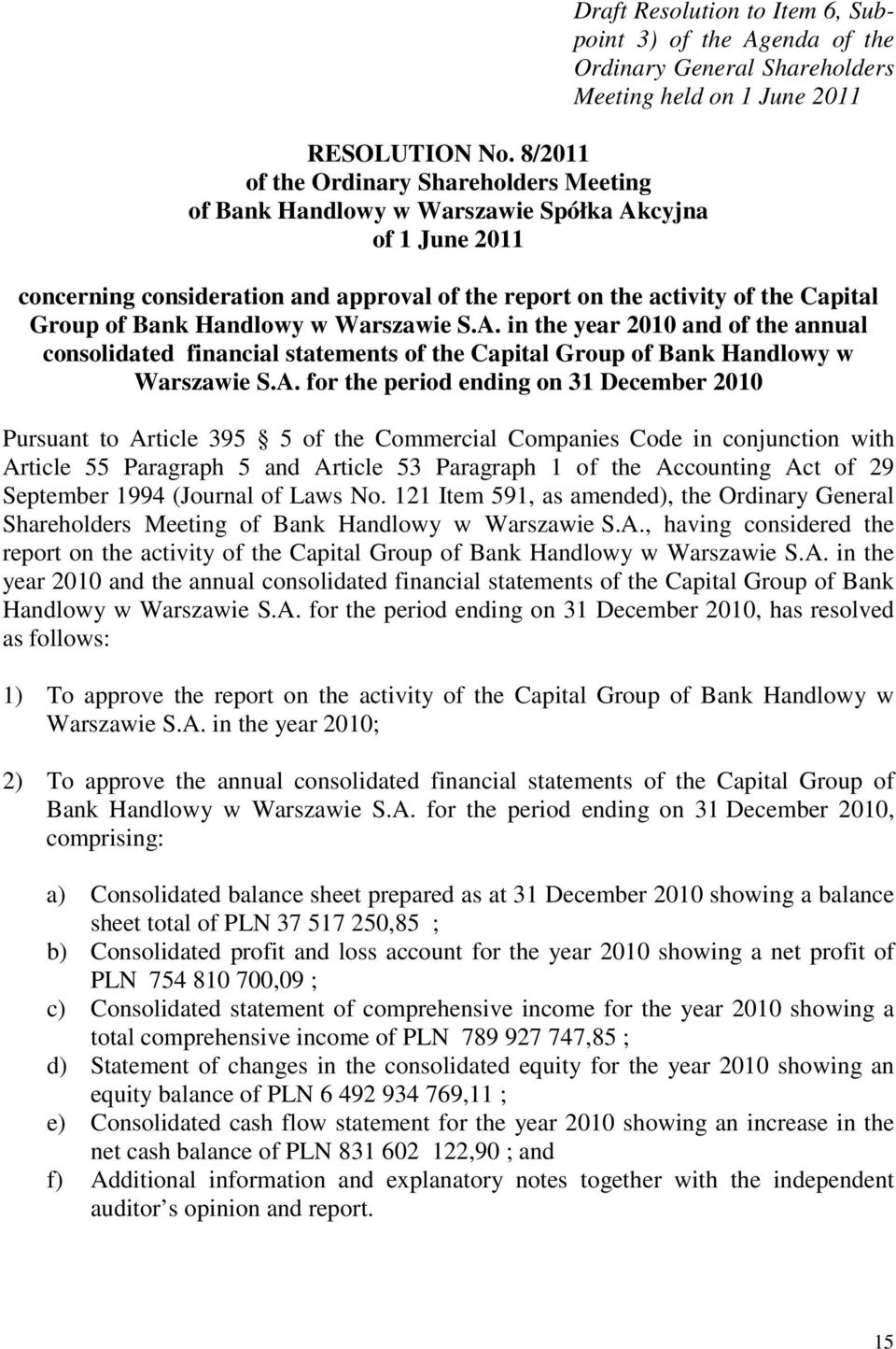 June 2011 concerning consideration and approval of the report on the activity of the Capital Group of Bank Handlowy w Warszawie S.A.