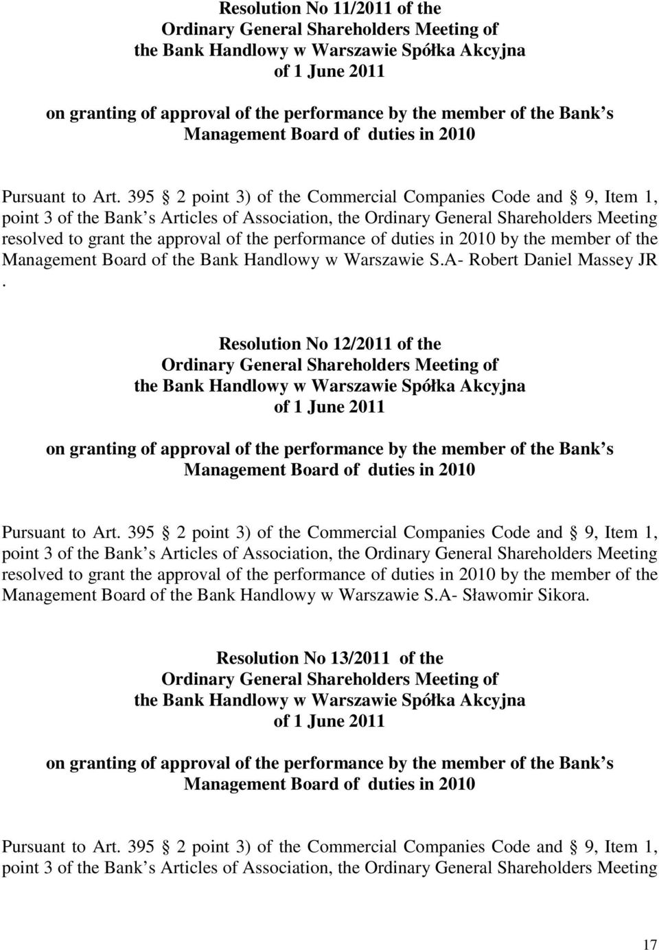 Resolution No 12/2011 of the of the Bank Handlowy w Warszawie Spółka Akcyjna Management Board of duties in 2010 resolved to grant the approval of the performance of