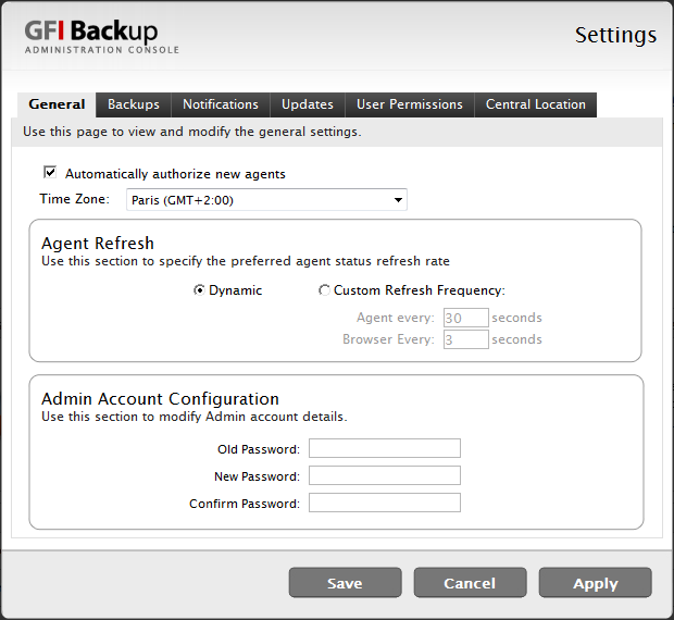 11.2.1 General Tab Screenshot 63 - GFI Backup Settings: General