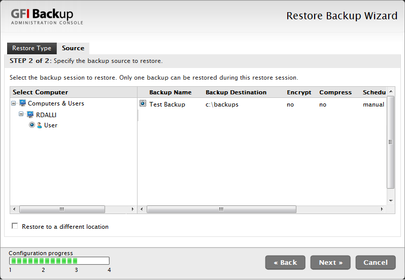 3. In the Restore Type tab, select Full-backup restore option and click Next. Screenshot 37 - Select computer and backup to restore 4.