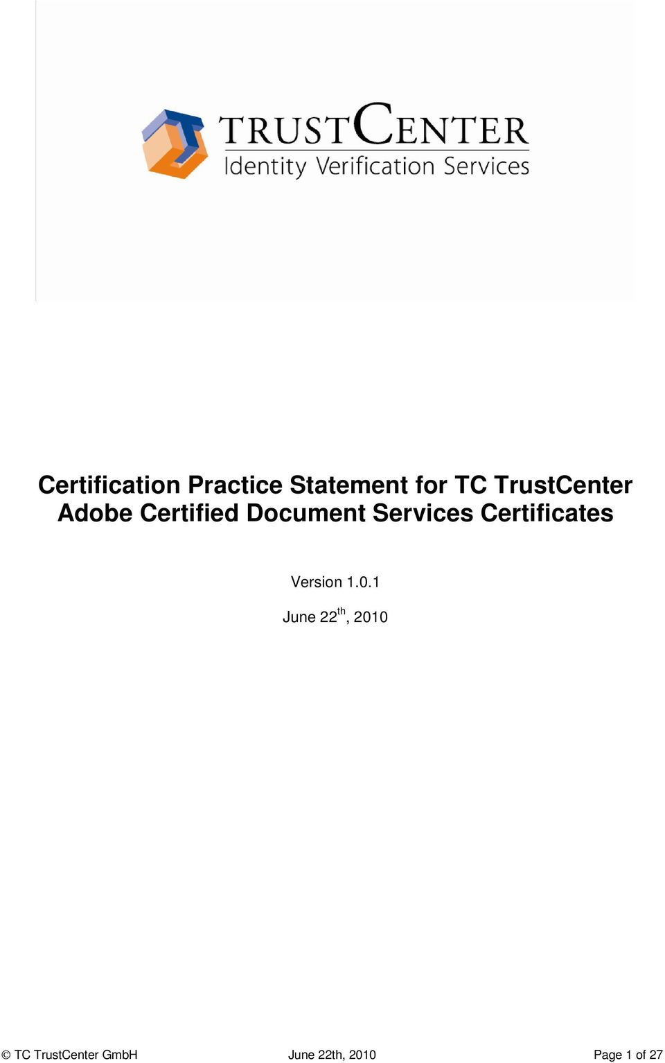 Services Certificates Version 1.0.