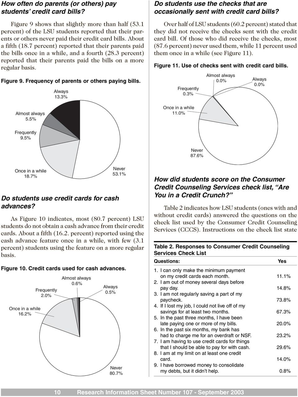 7 percent) reported that their parents paid the bills once in a while, and a fourth (28.3 percent) reported that their parents paid the bills on a more regular basis. Figure 9.