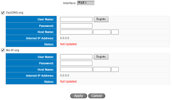 * The UI might vary from model to model, depending on different product lines. Interface DDNS Username This is an indication of the WAN port the user has selected.