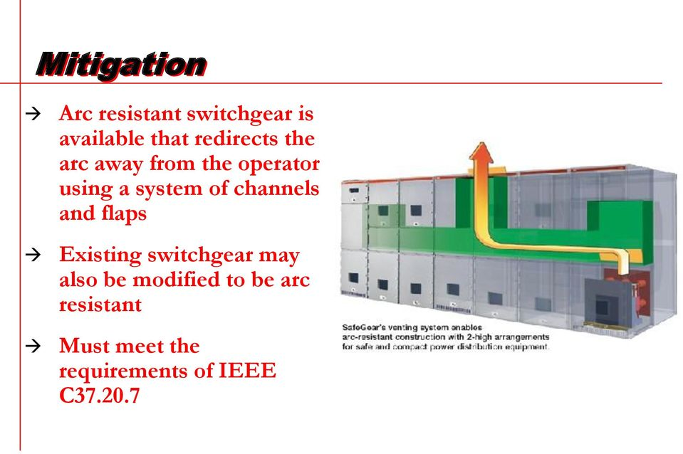 channels and flaps Existing switchgear may also be