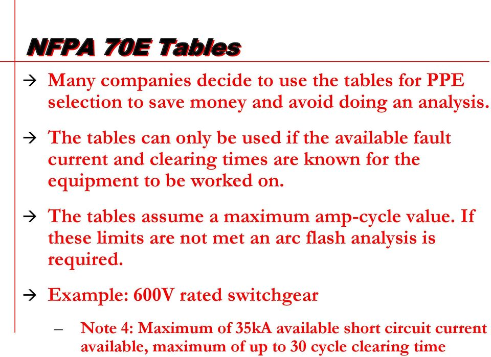 The tables assume a maximum amp-cycle value. If these limits are not met an arc flash analysis is required.