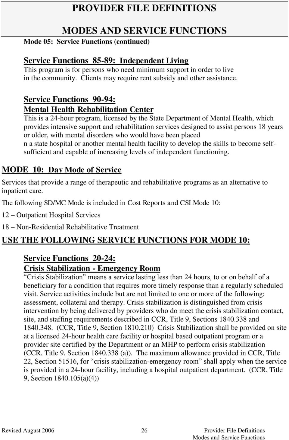 Service Functions 90-94: Mental Health Rehabilitation Center This is a 24-hour program, licensed by the State Department of Mental Health, which provides intensive support and rehabilitation services