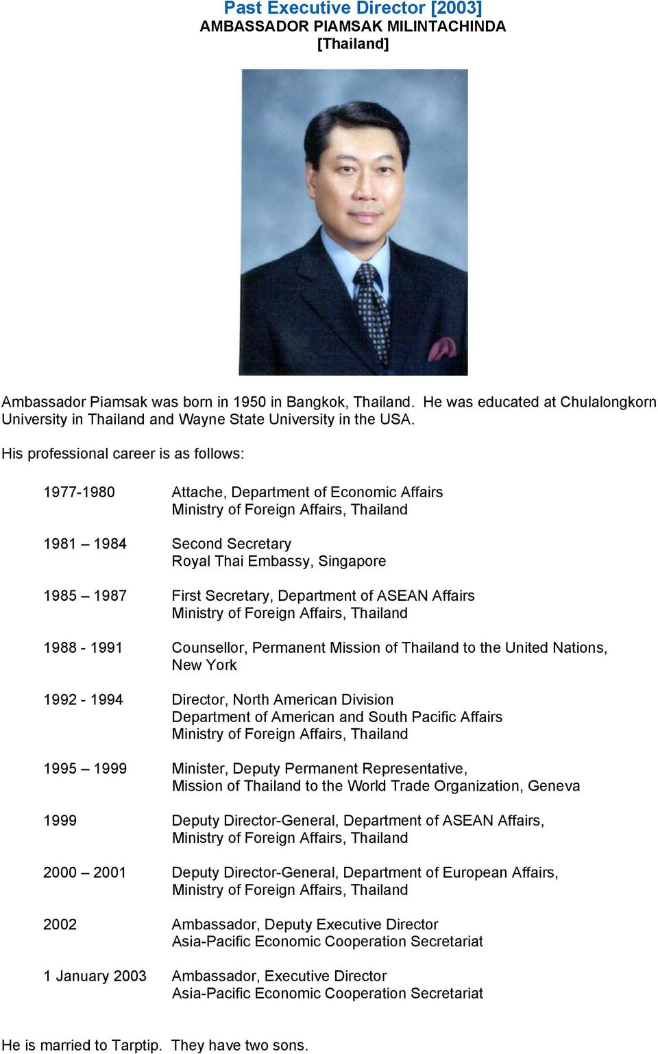 His professional career is as follows: 1977-1980 Attache, Department of Economic Affairs Ministry of Foreign Affairs, Thailand 1981 1984 Second Secretary Royal Thai Embassy, Singapore 1985 1987 First