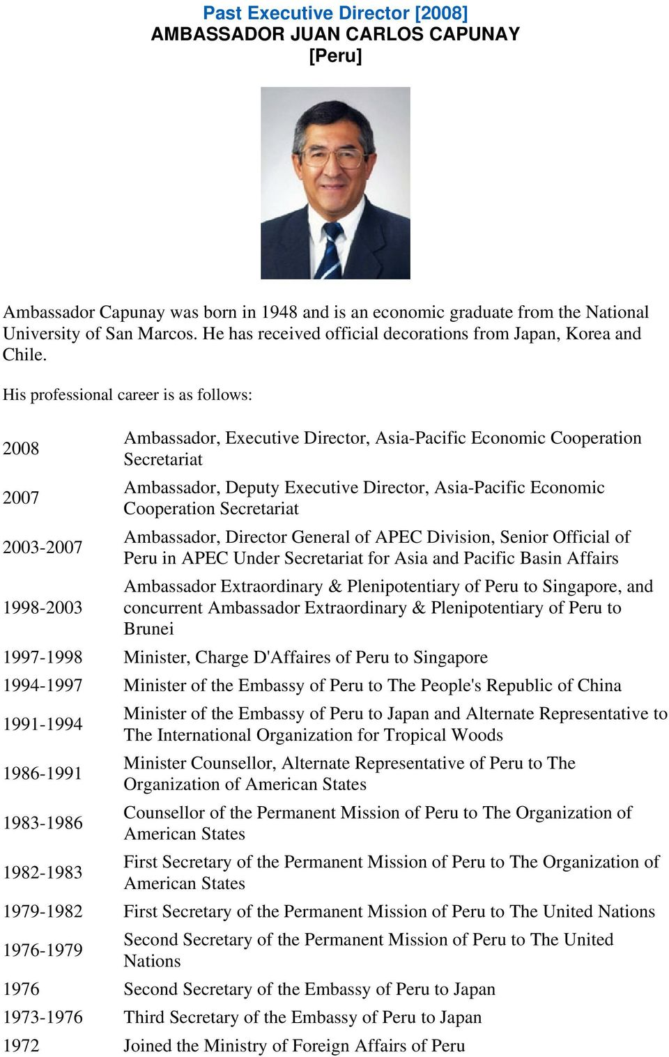 His professional career is as follows: 2008 2007 2003-2007 Ambassador, Executive Director, Asia-Pacific Economic Cooperation Secretariat Ambassador, Deputy Executive Director, Asia-Pacific Economic