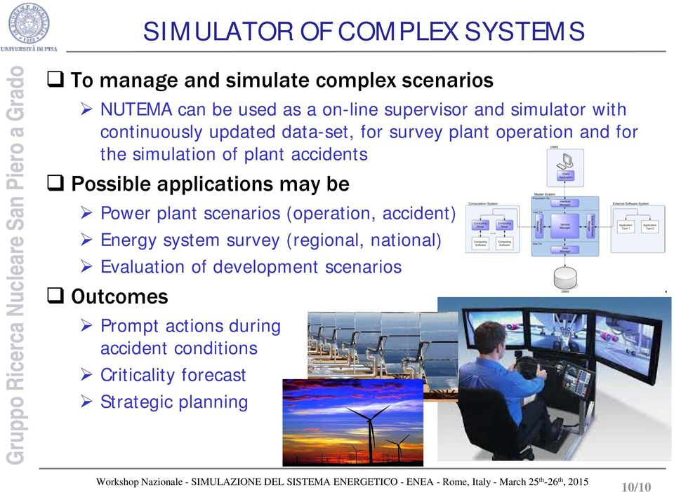 accidents Possible applications may be Power plant scenarios (operation, accident) Energy system survey (regional, national)