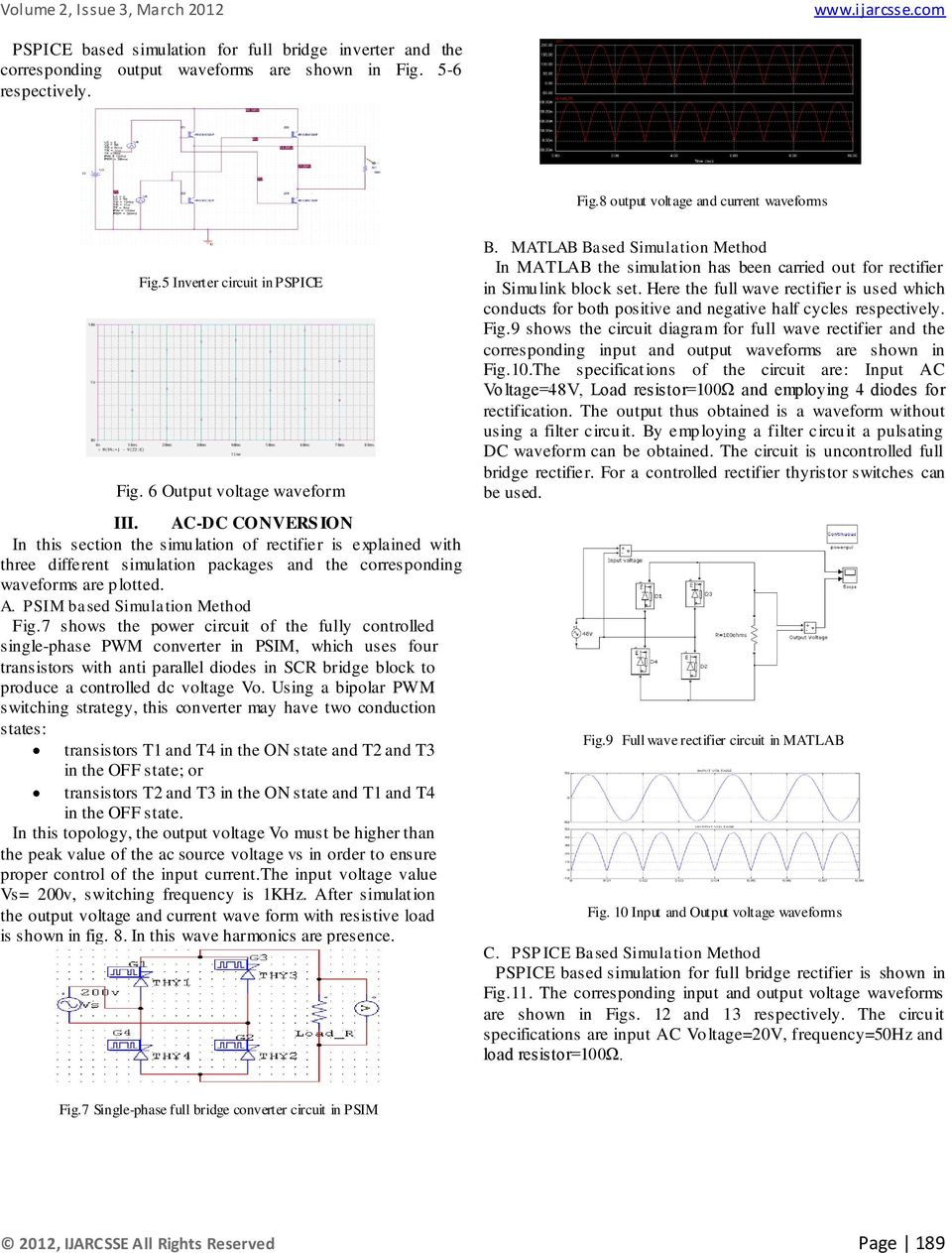 International Journal Of Advanced Research In Computer Science And Full Wave Rectifier Diagram Ac Dc Convers Ion This Section The Simulation Is Explained With Three Fig11