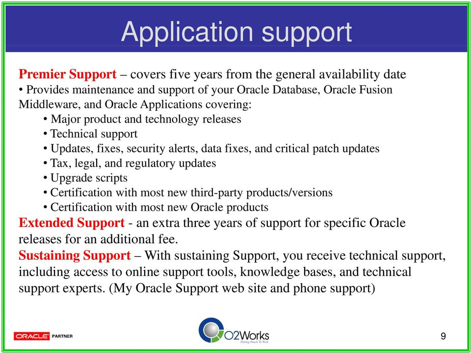 Certification with most new third-party products/versions Certification i with most new Oracle products Extended Support - an extra three years of support for specific Oracle releases for an