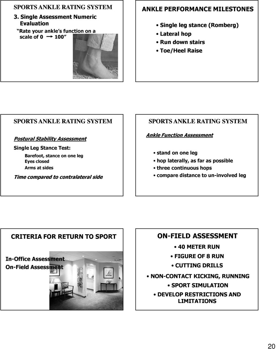 ANKLE RATING SYSTEM Postural Stability Assessment Single Leg Stance Test: Barefoot, stance on one leg Eyes closed Arms at sides Time compared to contralateral side SPORTS ANKLE RATING SYSTEM