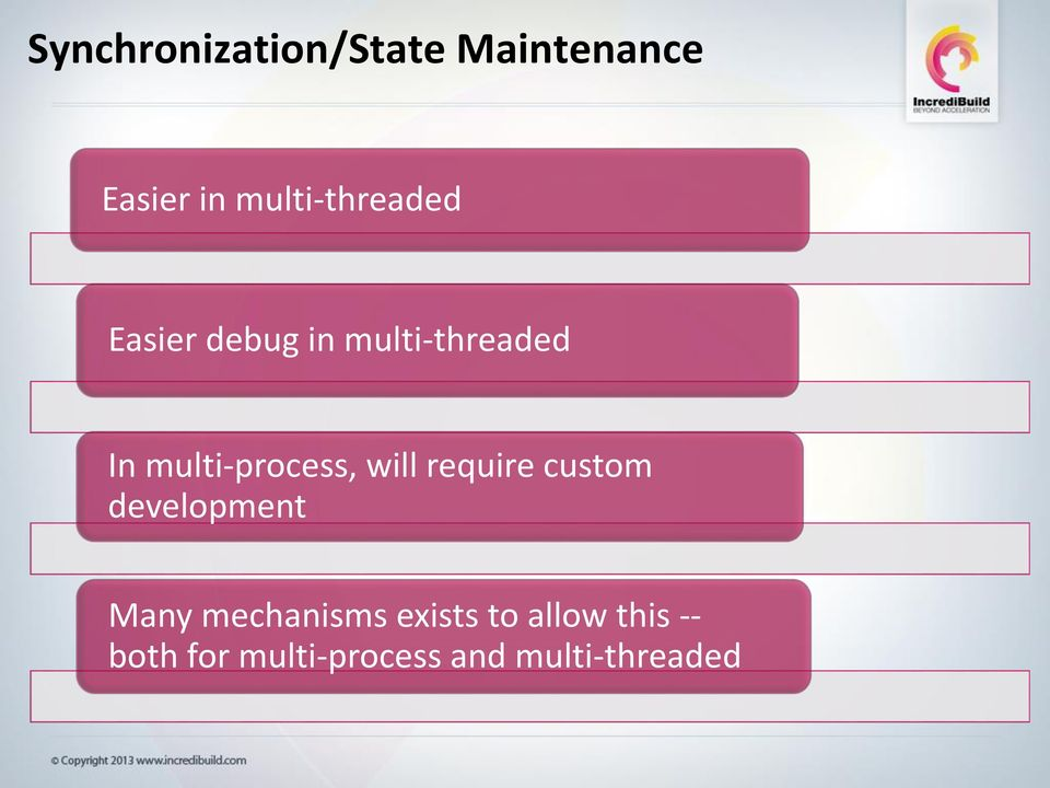 multi-process, will require custom development Many