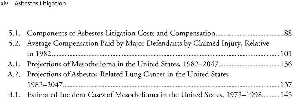 82...101 A.1. Projections of Mesothelioma in the United States, 1982 2047...136 A.2. Projections of Asbestos-Related Lung Cancer in the United States, 1982 2047.