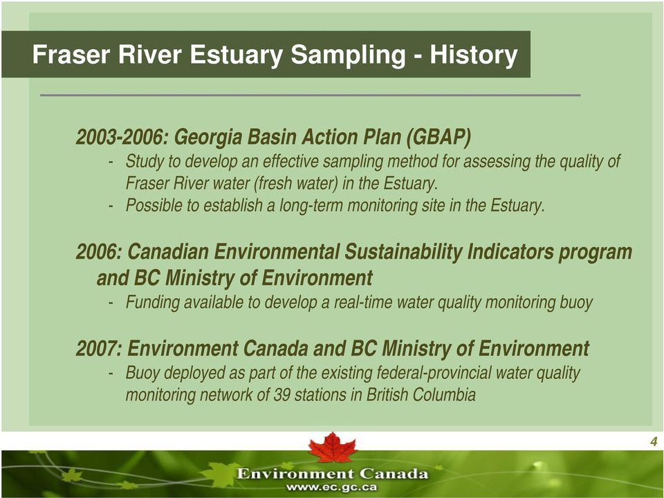Real-Time Water Quality Monitoring in the Fraser River Estuary