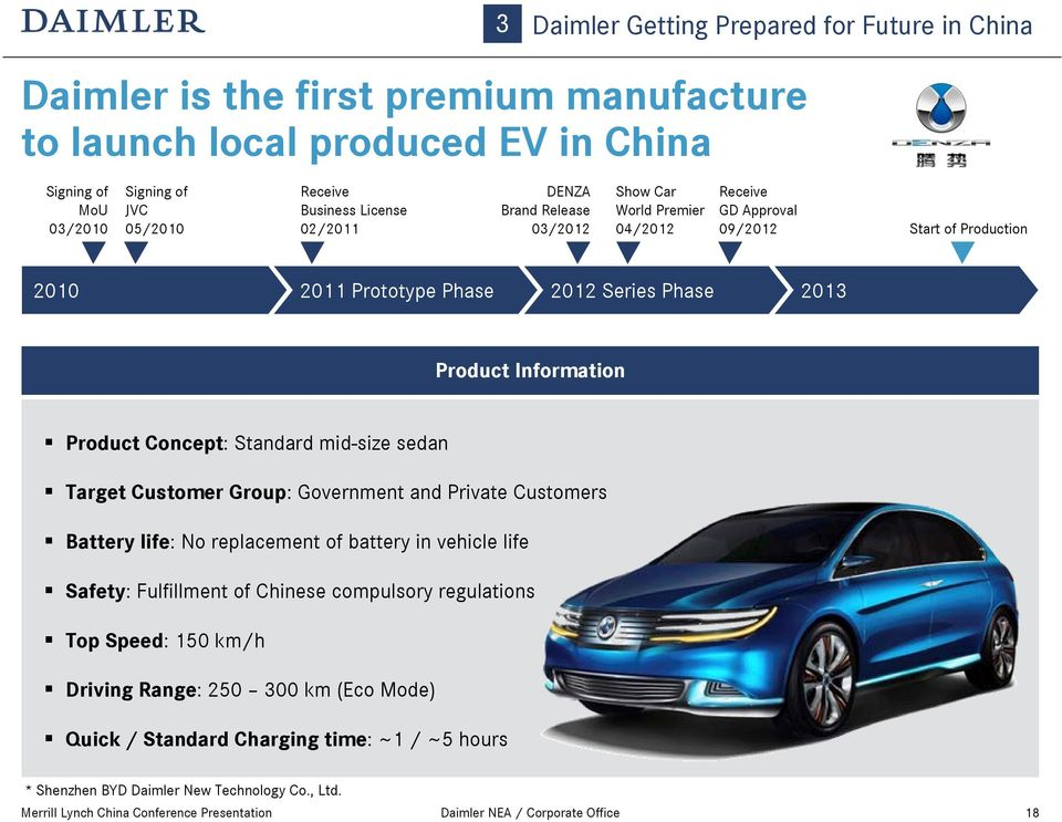 Concept: Standard mid-size sedan Target Customer Group: Government and Private Customers Battery life: No replacement of battery in vehicle life Safety: Fulfillment of Chinese compulsory regulations