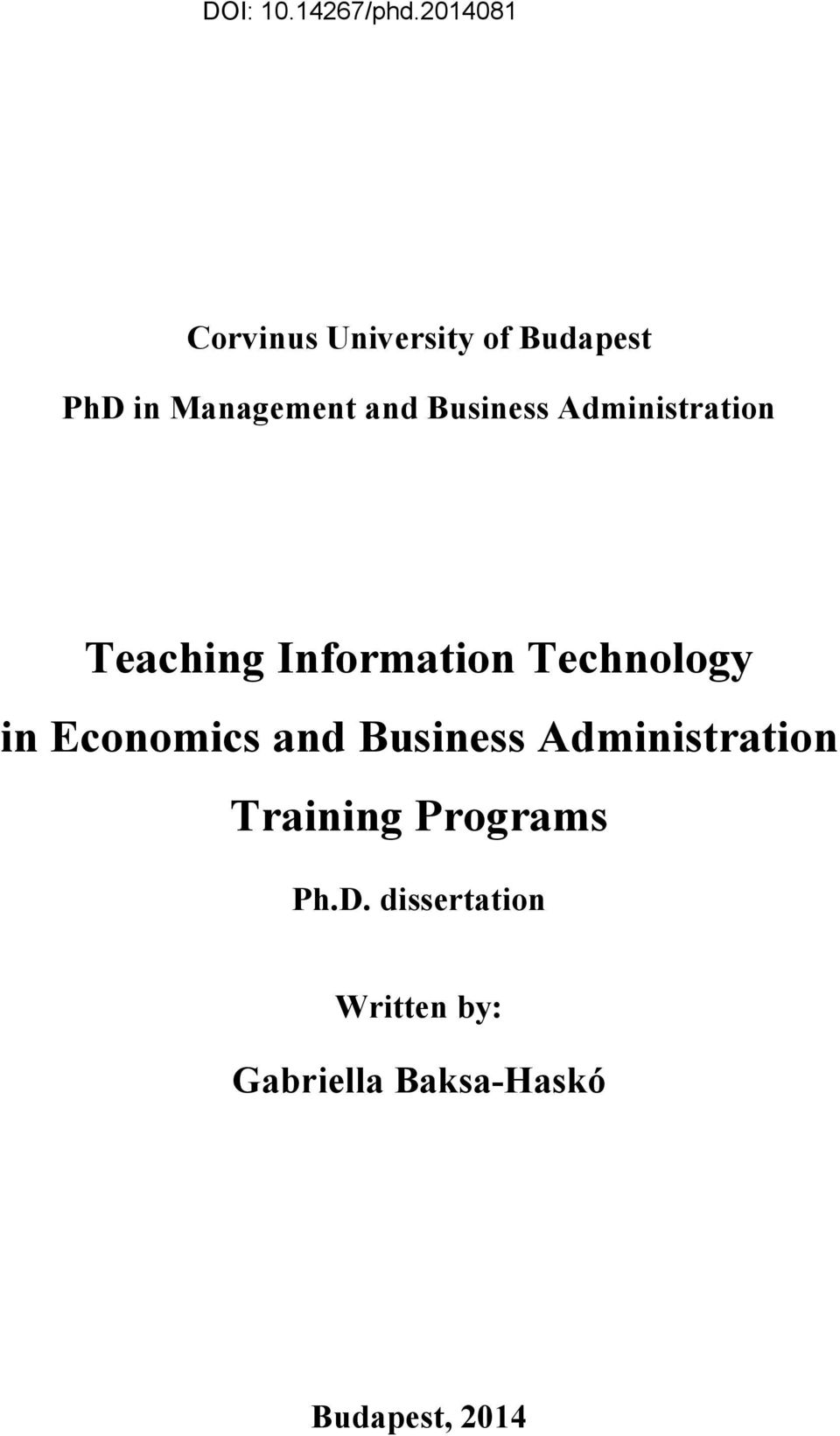 Economics and Business Administration Training Programs Ph.