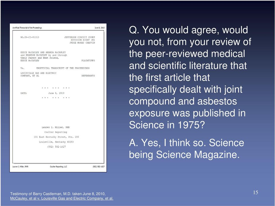 was published in Science in 1975? A. Yes, I think so. Science being Science Magazine.