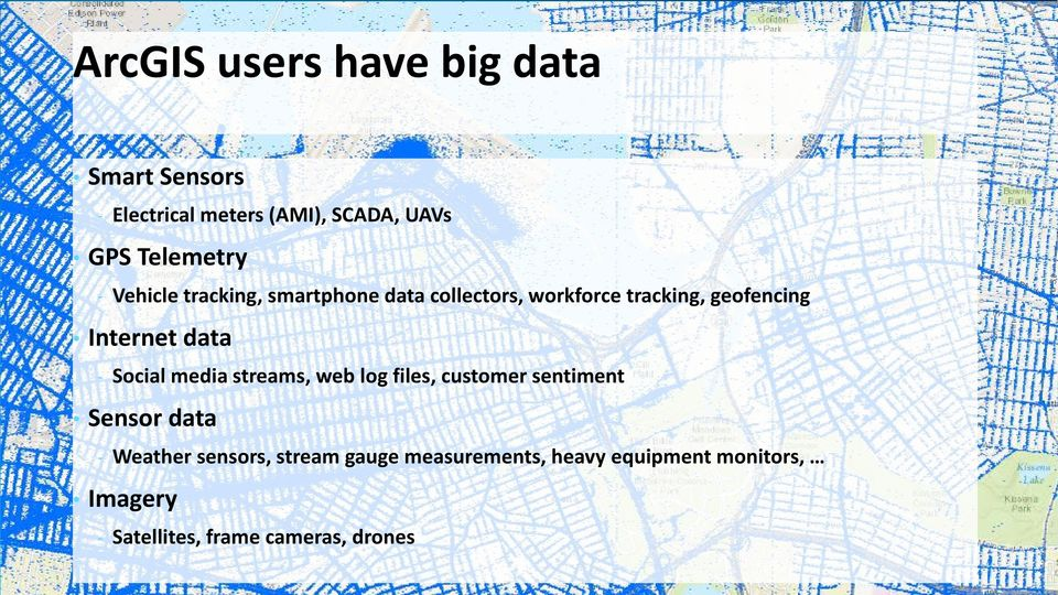- Social media streams, web log files, customer sentiment Sensor data - Weather sensors,