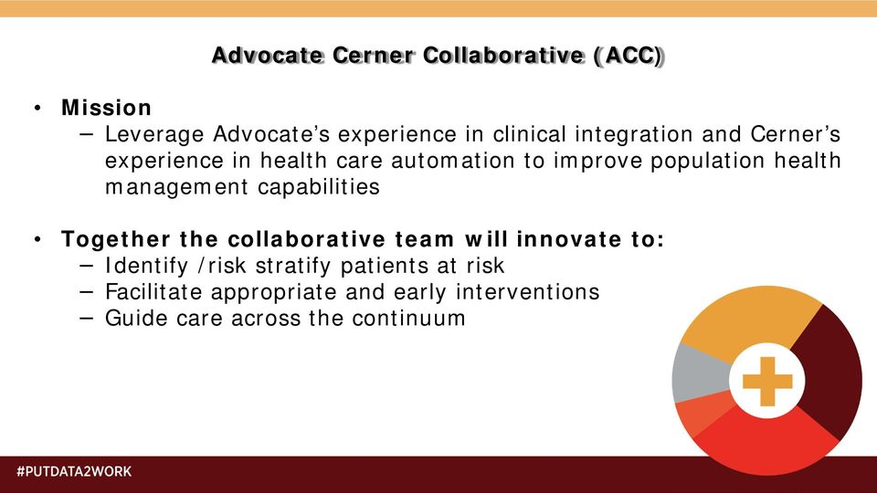 management capabilities Together the collaborative team will innovate to: Identify /risk