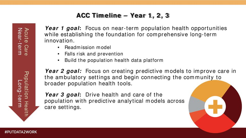 Readmission model Falls risk and prevention Build the population health data platform Year 2 goal: Focus on creating predictive models to