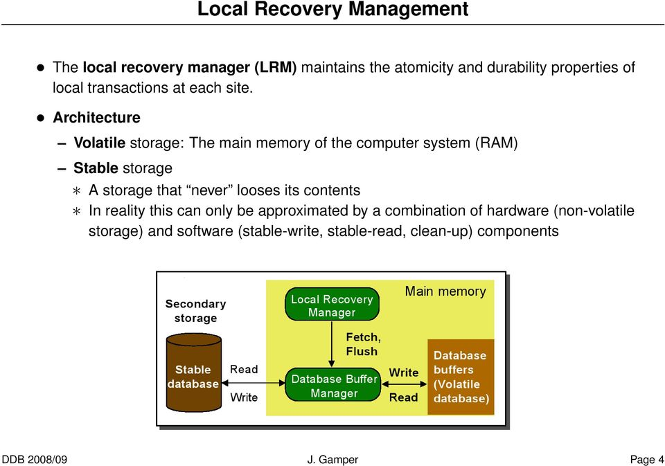 Architecture Volatile storage: The main memory of the computer system (RAM) Stable storage A storage that never
