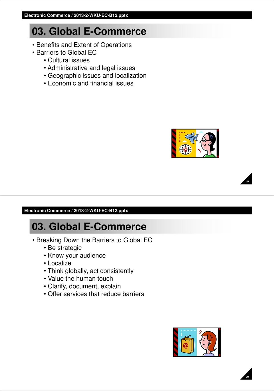 Global E-Commerce Breaking Down the Barriers to Global EC Be strategic Know your audience Localize Think