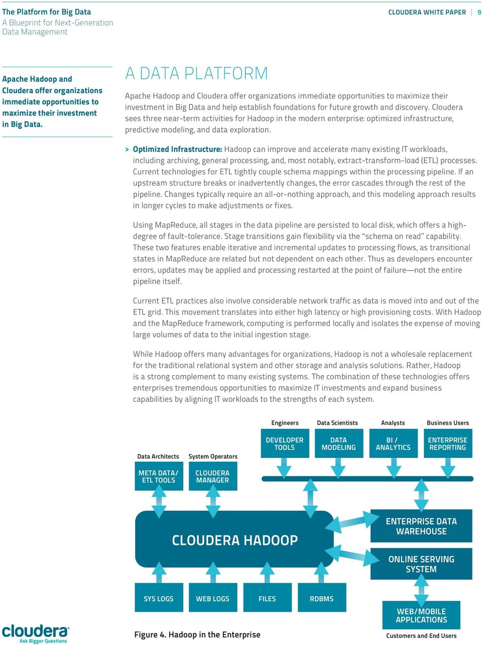 Cloudera sees three near-term activities for Hadoop in the modern enterprise: optimized infrastructure, predictive modeling, and data exploration.