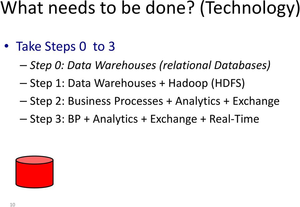 (relational Databases) Step 1: Data Warehouses + Hadoop
