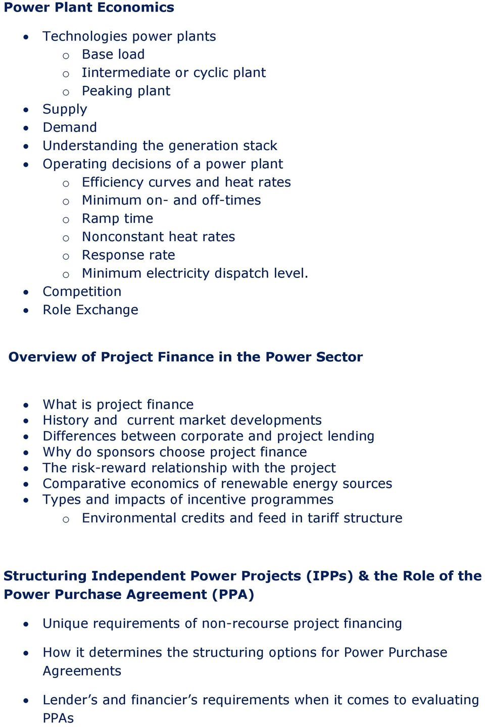 4 Day Course Outline Power Purchase Agreements For Emerging