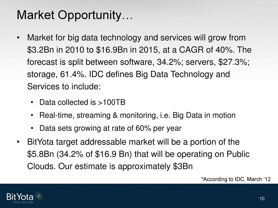 IDC defines Big Data Technology and Services to include: Data collected is >100TB Real-time, streaming & monitoring, i.e. Big Data in motion Data sets growing at rate of 60% per year BitYota target addressable market will be a portion of the $5.