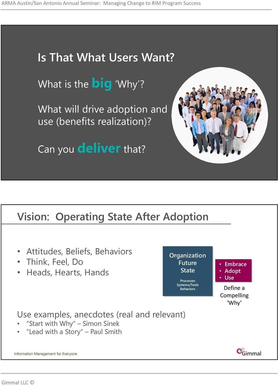 Vision: Operating State After Adoption Attitudes, Beliefs, Think, Feel, Do Heads, Hearts,
