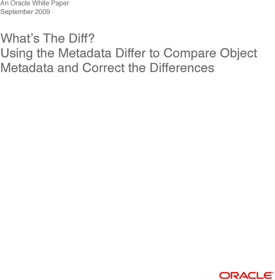 Using the Metadata Differ to