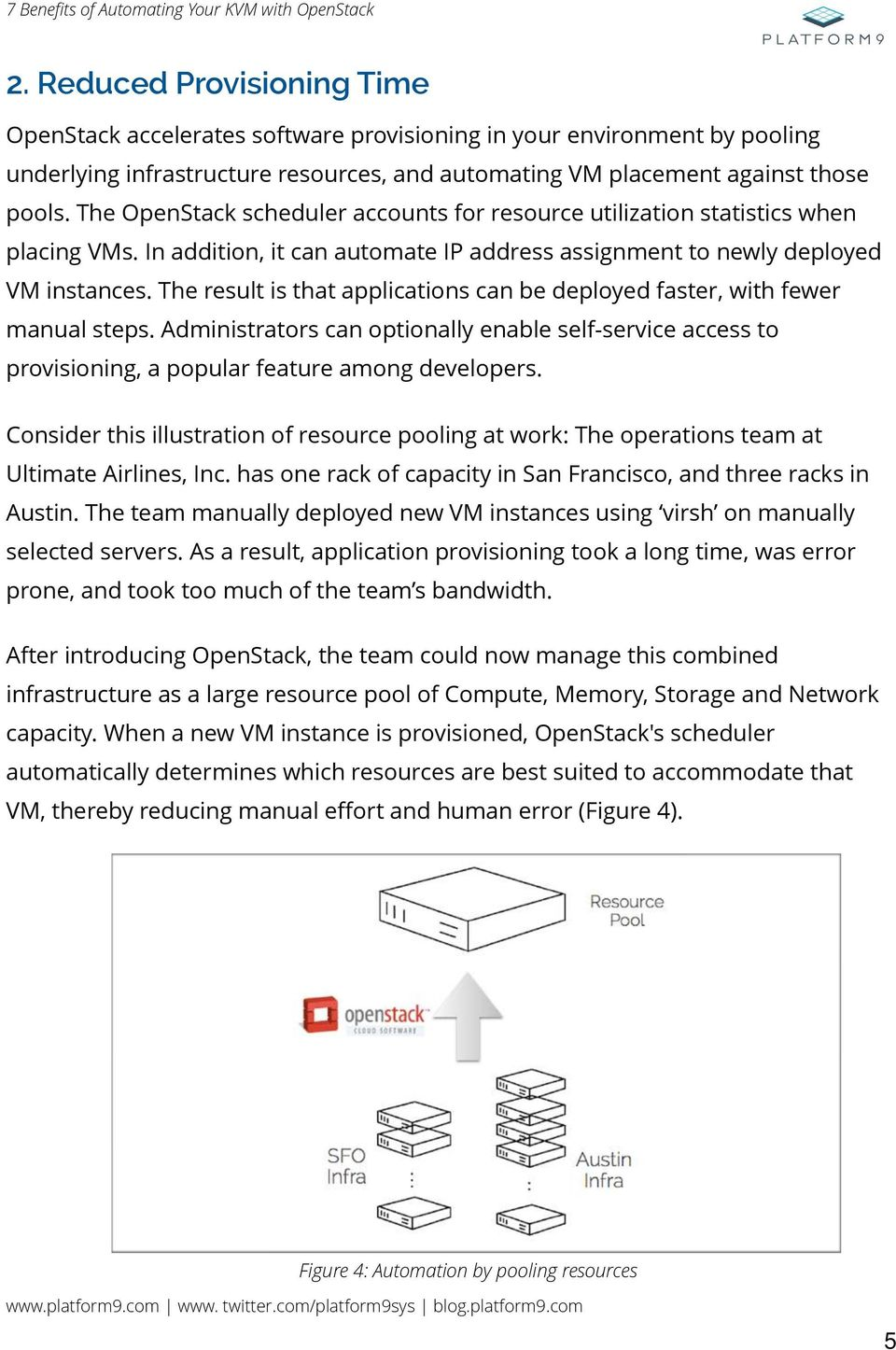 The OpenStack scheduler accounts for resource utilization statistics when placing VMs. In addition, it can automate IP address assignment to newly deployed VM instances.