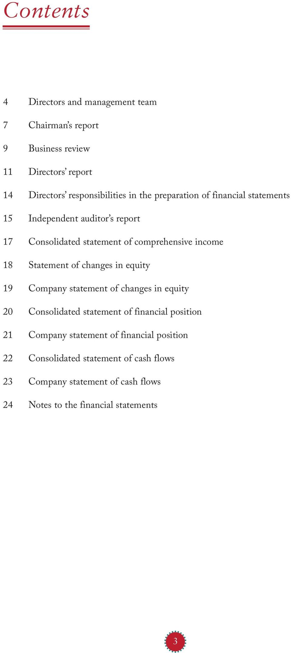 Statement of changes in equity 19 Company statement of changes in equity 20 Consolidated statement of financial position 21 Company