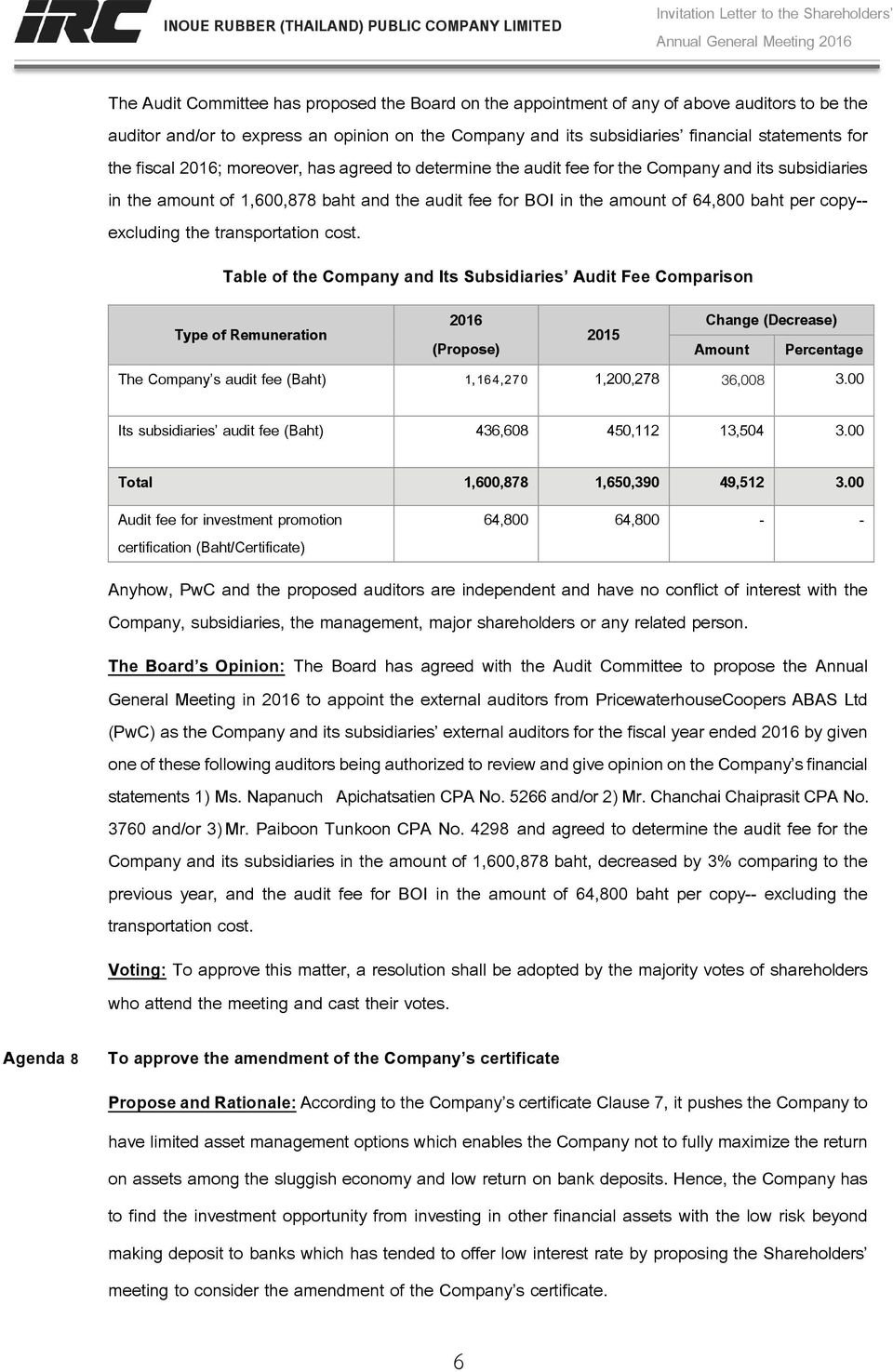 subsidiaries in the amount of 1,600,878 baht and the audit fee for BOI in the amount of 64,800 baht per copy-- excluding the transportation cost.