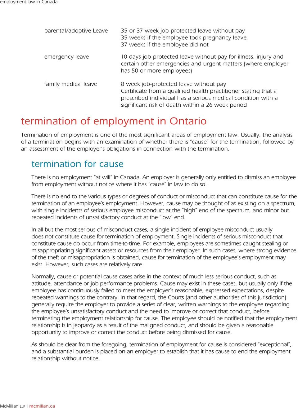a qualified health practitioner stating that a prescribed individual has a serious medical condition with a significant risk of death within a 26 week period termination of employment in Ontario