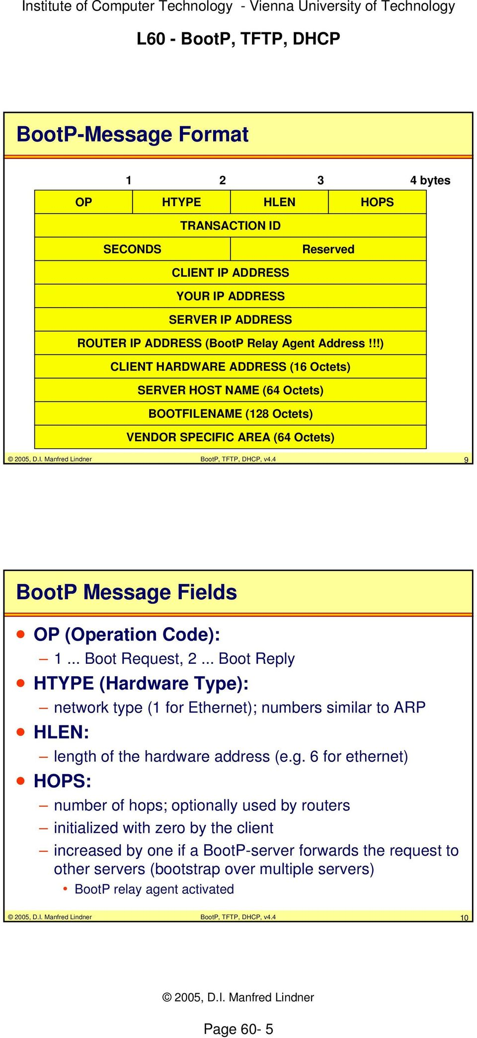 .. Boot Request, 2... Boot Reply HTYPE (Hardware Type): network type (1 for Ethernet); numbers similar to ARP HLEN: lengt