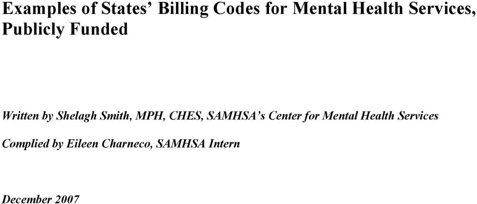 Examples Of States Billing Codes For Mental Health Services