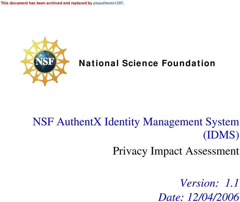 .0 National Science Foundation NSF AuthentX